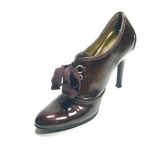Linea Paolo Size 6M Brown Lace Front Heels